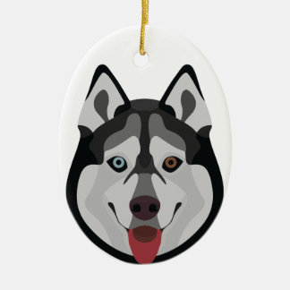Ornement Ovale En Céramique L'illustration poursuit le chien de traîneau