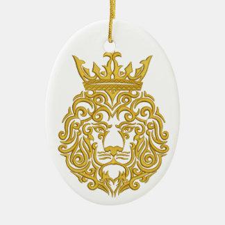 Ornement Ovale En Céramique lion d'or dans la couronne