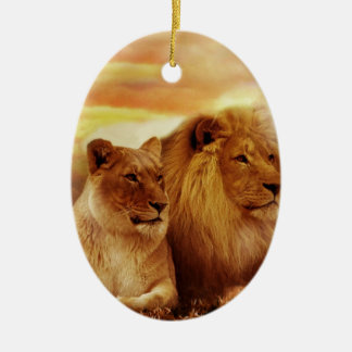 Ornement Ovale En Céramique Lions africains - safari - faune