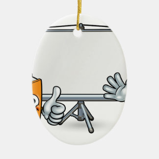 Ornement Ovale En Céramique Livre et mascottes et tableau blanc de crayon