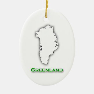 Ornement Ovale En Céramique Logo de carte du Groenland