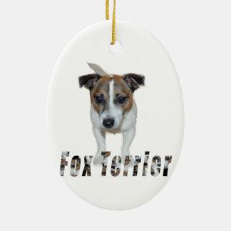 Ornement Ovale En Céramique Logo de Fox Terrier et de Fox Terrier,