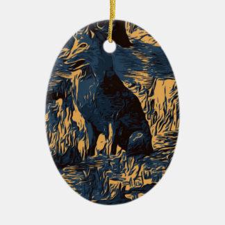 Ornement Ovale En Céramique loup dans les bois
