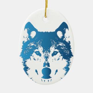 Ornement Ovale En Céramique Loup de bleu glacier d'illustration