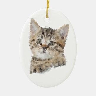 Ornement Ovale En Céramique Low poly chaton