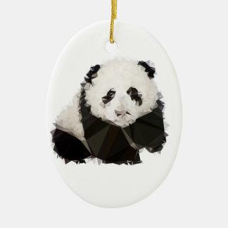 Ornement Ovale En Céramique Low Poly Panda