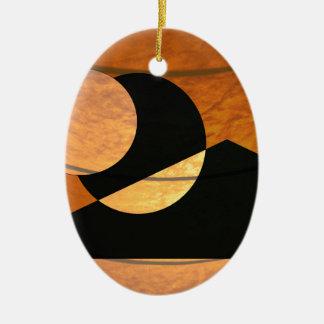 Ornement Ovale En Céramique Lueur de planètes, noir et cuivre, conception
