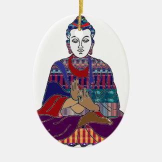 Ornement Ovale En Céramique LUMIÈRE d'AMOUR aimable de paix de bouddhisme de