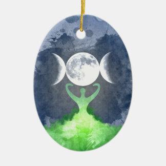 Ornement Ovale En Céramique Lune de déesse de Terre de Wiccan
