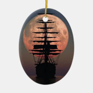 Ornement Ovale En Céramique Lune de pirate de navigation
