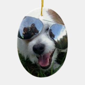 Ornement Ovale En Céramique Lunettes de soleil l'AVENIR LUMINEUX de chien pour