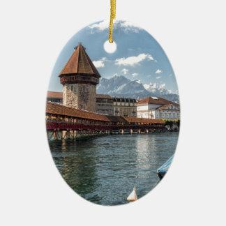Ornement Ovale En Céramique Luzerne de pont de chapelle, Suisse