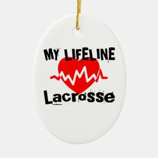 Ornement Ovale En Céramique Ma ligne de vie lacrosse folâtre des conceptions