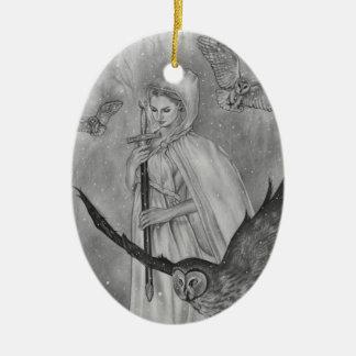 Ornement Ovale En Céramique Madame Ornament d'hiver de hiboux d'hiver