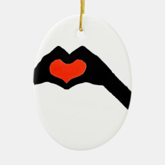 Ornement Ovale En Céramique main heart2