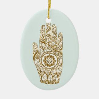 Ornement Ovale En Céramique Main Lotus de henné
