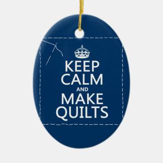 Ornement Ovale En Céramique Maintenez calme et faites les édredons (toutes les