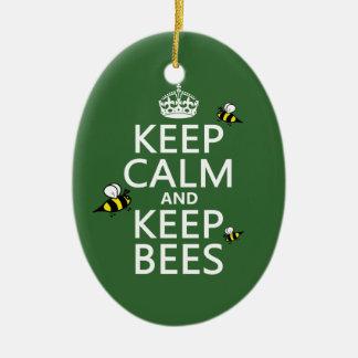 Ornement Ovale En Céramique Maintenez calme et gardez les abeilles - toutes