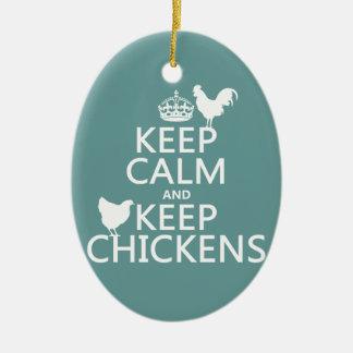 Ornement Ovale En Céramique Maintenez calme et gardez les poulets (toute
