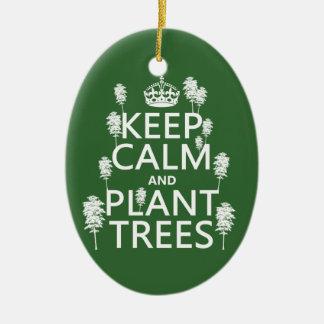 Ornement Ovale En Céramique Maintenez les arbres calmes et de plante (toutes