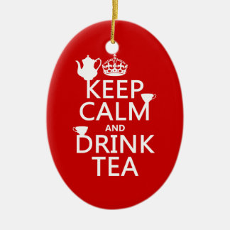 Ornement Ovale En Céramique Maintenez thé calme et de boissons - toutes les