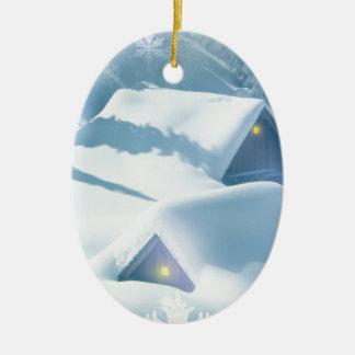 Ornement Ovale En Céramique maisons de chute de neige de faveur de Noël