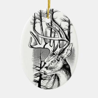 Ornement Ovale En Céramique Mâle de forêt