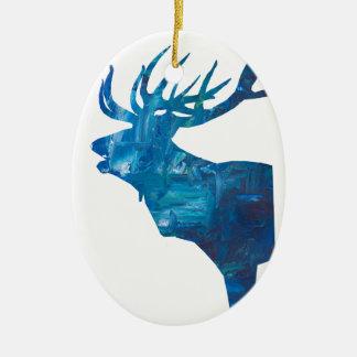 Ornement Ovale En Céramique mâle principal de cerfs communs dans le bleu
