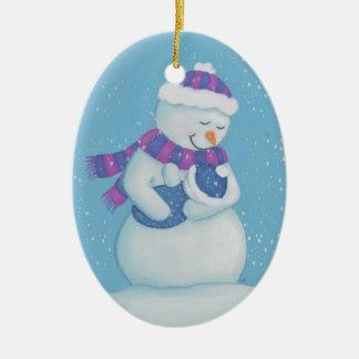 Ornement Ovale En Céramique Maman de neige et bébé de neige