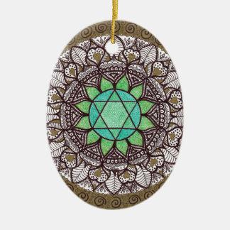 Ornement Ovale En Céramique Mandala de Chakra de coeur