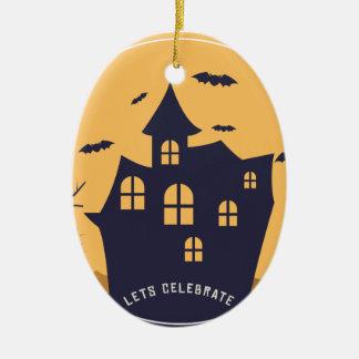 Ornement Ovale En Céramique Manoir éffrayant et battes de Halloween