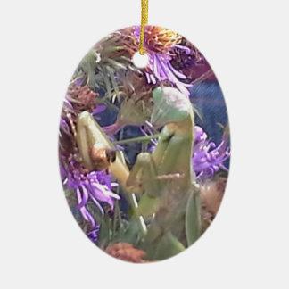 Ornement Ovale En Céramique Mante attaquante et fleurs pourpres de cône