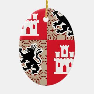 Ornement Ovale En Céramique Manteau des lions de château de bras