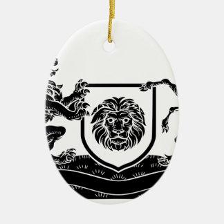 Ornement Ovale En Céramique Manteau héraldique de licorne et de lion de crête