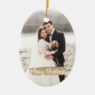 Ornement Ovale En Céramique Mariez l'ornement de nouveaux mariés de Noël
