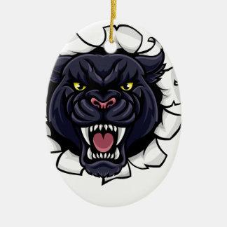 Ornement Ovale En Céramique Mascotte de basket-ball de panthère noire