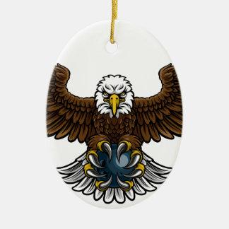 Ornement Ovale En Céramique Mascotte de roulement de sports d'Eagle
