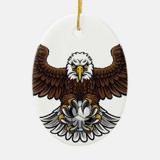 Ornement Ovale En Céramique Mascotte du football du football d'Eagle