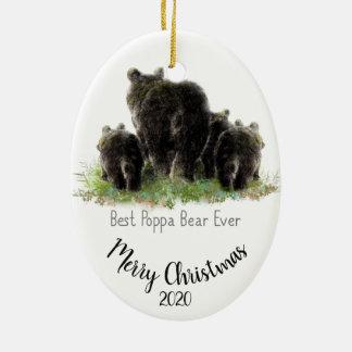 Ornement Ovale En Céramique Meilleur ours de pépère de Noël daté par coutume