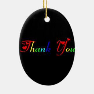 Ornement Ovale En Céramique Merci avec les coeurs rouges 0433