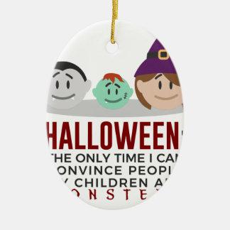 Ornement Ovale En Céramique Mes enfants sont conception de Halloween de