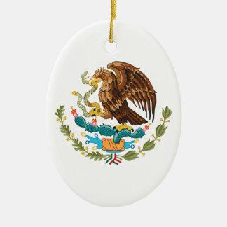 Ornement Ovale En Céramique Mexicain Eagle et serpent