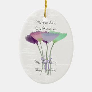 Ornement Ovale En Céramique Mignon ajoutez l'ornement de fleurs de pivoine