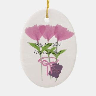 Ornement Ovale En Céramique Mignon ajoutez l'ornement rose de fleurs de