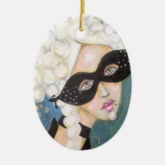 Ornement Ovale En Céramique Mignon artistique de portrait lunatique de Marie