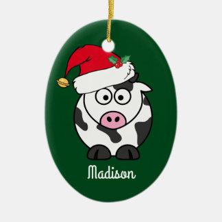 Ornement Ovale En Céramique Mignon de vache à Noël personnalisé