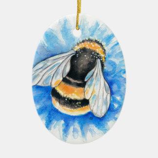 Ornement Ovale En Céramique Mignon gaffez l'art d'aquarelle d'abeille