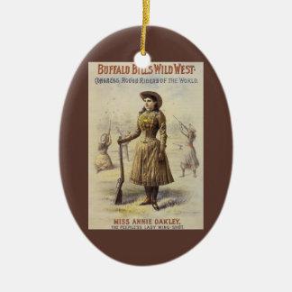 Ornement Ovale En Céramique Mlle vintage Annie Oakley, cow-girl occidentale