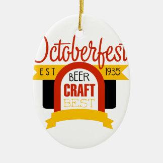 Ornement Ovale En Céramique Modèle de conception de logo d'Oktoberfest