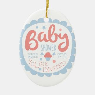 Ornement Ovale En Céramique Modèle de conception d'invitation de baby shower